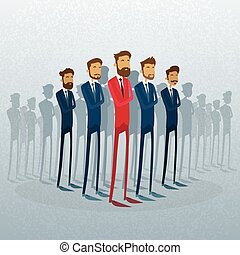 groupe, business, foule, gens, individu, stand, équipe, homme affaires, éditorial, rouges