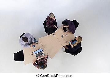 groupe,  Business, gens, aérien, réunion, vue