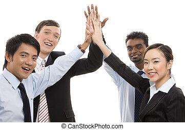 groupe, business, -, haut cinq