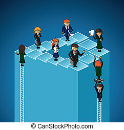 groupe, business, reussite, gens., travail, niveaux