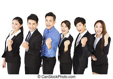 groupe, business, reussite, jeune, geste, heureux