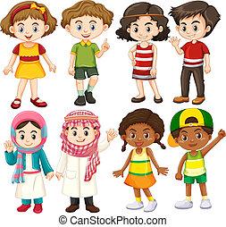 groupe, caractère, enfants, international