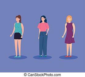 groupe, caractère, icône, avatar, femmes