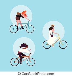 groupe, caractère, jeune, vélo, avatar, équitation, femmes