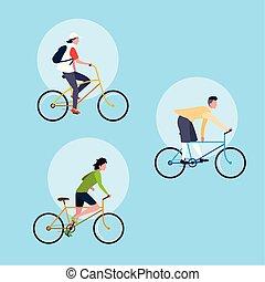 groupe, caractère, jeune, vélo, avatar, équitation, homme