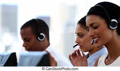groupe, centre appel, agents