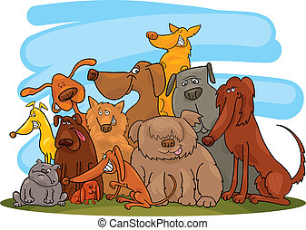 groupe, chiens