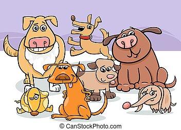 groupe, chiens, illustration, dessin animé