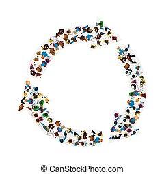 groupe, circulation, gens, flèches, isolé, illustration, arrière-plan., forme, vecteur, blanc