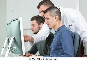 groupe, classrom, étudiants, laboratoire, informatique, prof