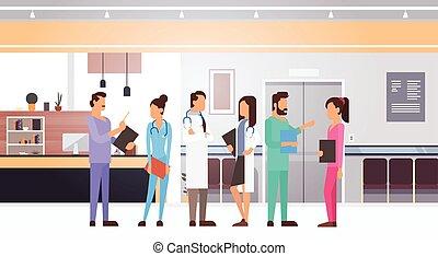 groupe, cliniques, médecins hôpital, médian, équipe, intérieur