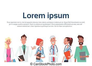 groupe, cliniques, médecins hôpital, médian, équipe