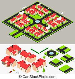 groupe, collection, isométrique, maison