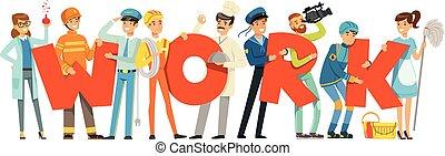 groupe, coloré, gens, travail, illustration, uniforme, vecteur, tenue, mot, sourire, sport, dessin animé