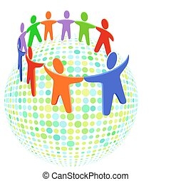 groupe, coloré, solidarité