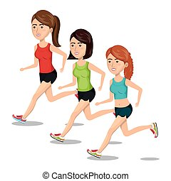 groupe, courant, isolé, jogging, conception, girl, sport