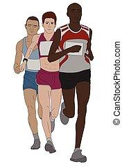 groupe, coureurs marathon