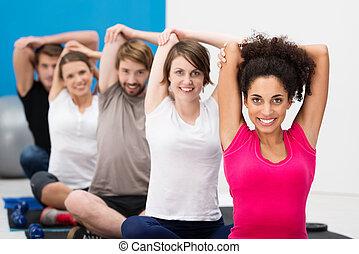 groupe, crise, gymnase, jeune, exercisme, amis