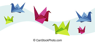 groupe, cygne, divers, origami