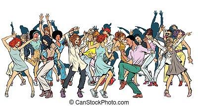 groupe, danse, isoler, jeunesse, fond, blanc