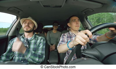 groupe, danse, voiture, amis, conduire, quoique, chant, voyage, route, heureux