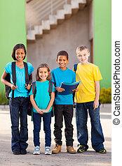groupe, de, école primaire, étudiants