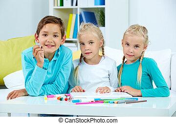 groupe, de, écoliers