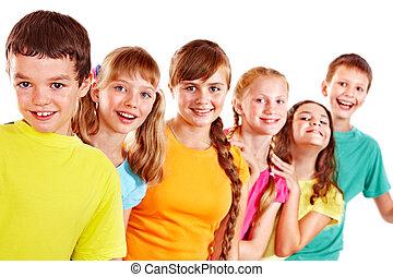 groupe, de, adolescent, gens.