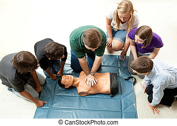groupe, de, adolescents, prendre, cpr, classe