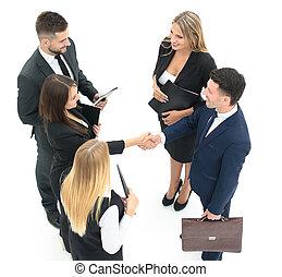 groupe, de, business, gens., businessman., isolé, blanc, backgro