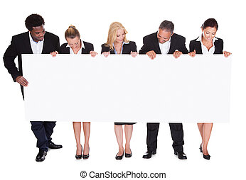 groupe, de, businesspeople, tenue, affiche