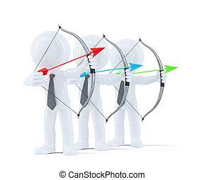 groupe, de, businesspeople, viser, à, a, cible