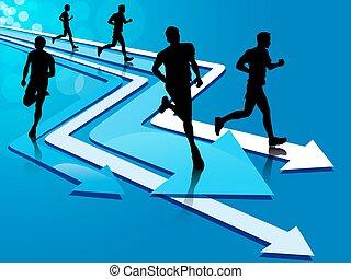 groupe, de, cinq, équipez course, sur, flèche, pistes