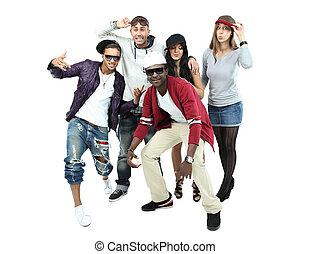 groupe, de, cinq, différent, jeunes, -, isolé, sur, backg blanc