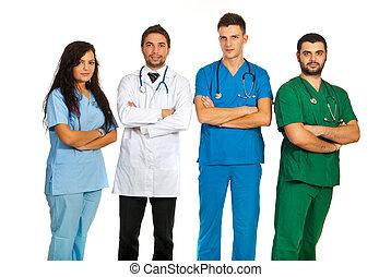 groupe, de, différent, médecins