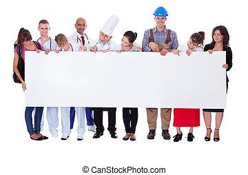 groupe, de, divers, professionnel, gens, à, a, bannière