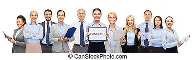 groupe, de, heureux, businesspeople, avoirs contractent