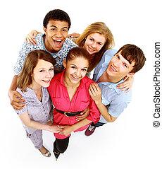groupe, de, heureux, joyeux, amis, debout, à, mains haut, isolé, blanc, fond