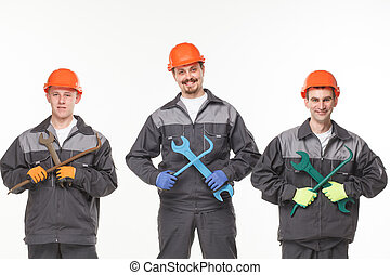 groupe, de, industriel, workers., isolé, sur, fond blanc