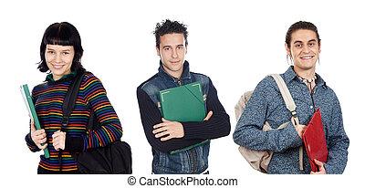 groupe, de, jeune, étudiants