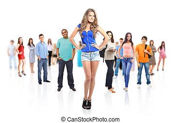 groupe, de, jeune, gens., isolé, blanc