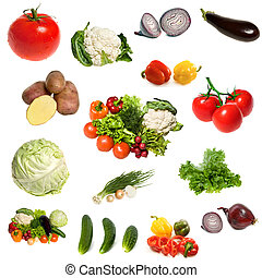 groupe, de, légumes, isolé