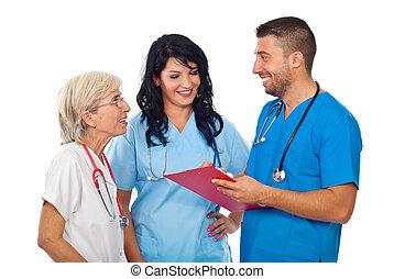 groupe, de, médecins, avoir, heureux, conversation