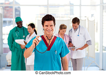 groupe, de, médecins, fonctionnement, dans, a, hôpital