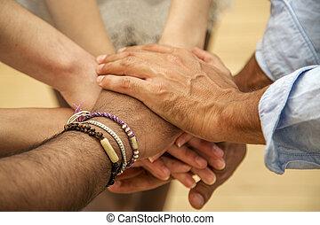 groupe, de, mains, lier