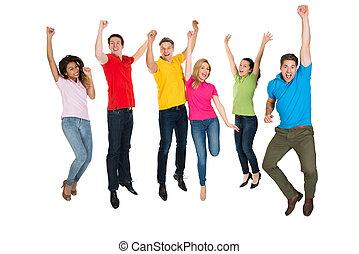 groupe, de, multiethnic, divers, sauter personnes