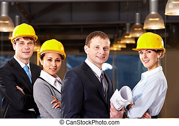 groupe, de, ouvriers