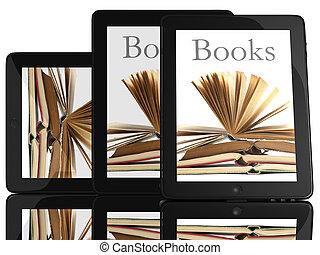 groupe, de, pc tablette, informatique, et, livres