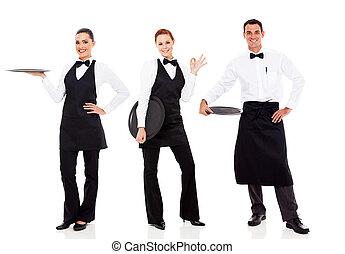 groupe, de, personnel restaurant