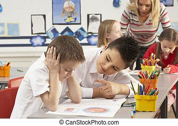 groupe, de, primaire, écoliers, et, prof, travailler,...